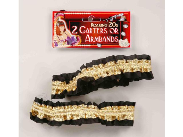 Roaring 20's Shiny Gold And Black Costume Garters Or Armbands One Size