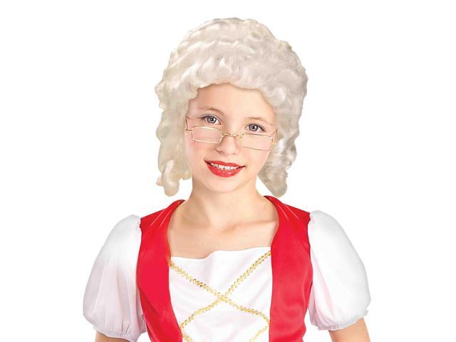 Colonial Girl Child Costume White Wig One Size