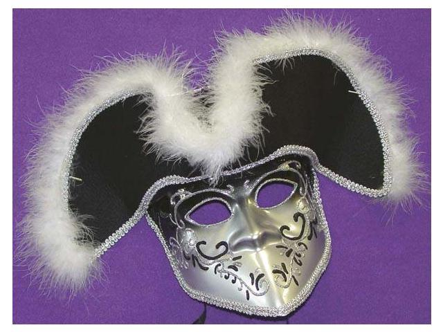 Silver & Black Venetian, Masquerade, Mardi Gras Mask With Feather Hat