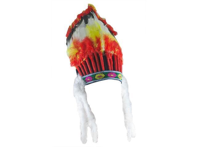 Multi-Colored Native American Feather Headdress Costume Accessory