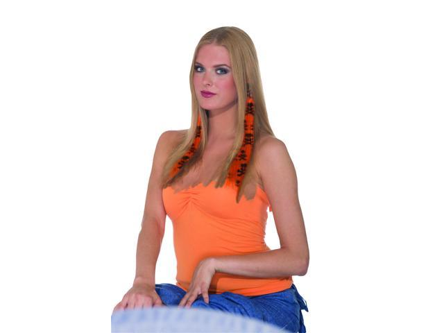 2-Piece Costume Hair Extensions: Orange & Black Skull One Size