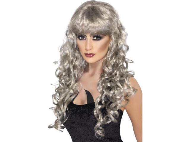 Long Curly Silver Siren Woman's Costume Wig One Size