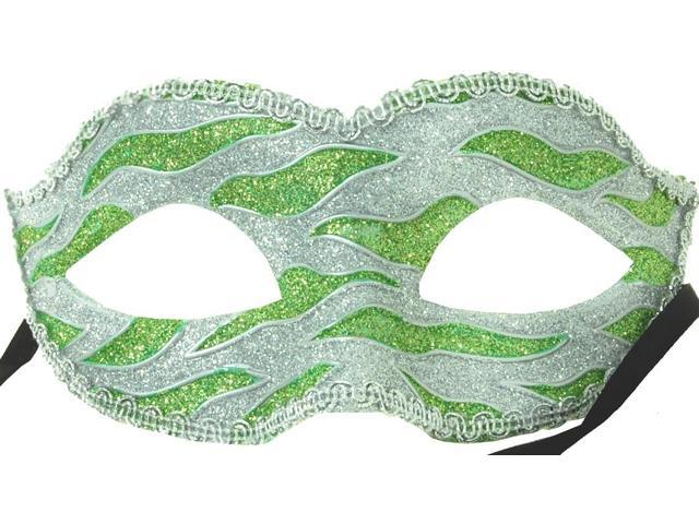 Naughty Petite Mardi Gras Costume Mask - Green/Silver