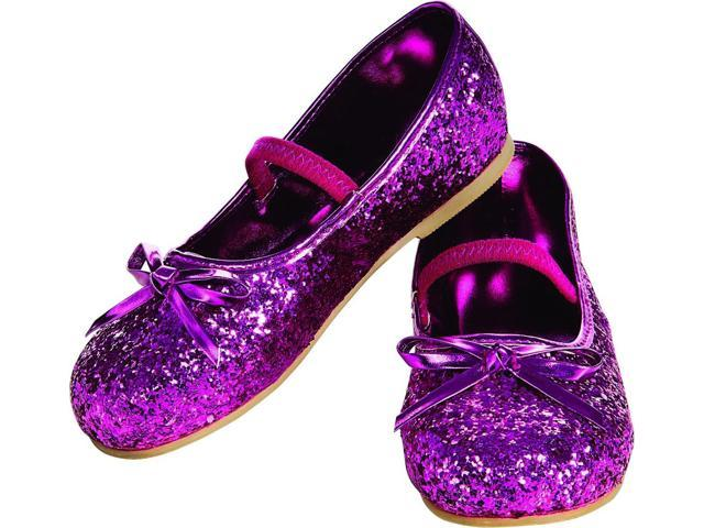 Magenta Glitter Flats Costume Shoes Child Large