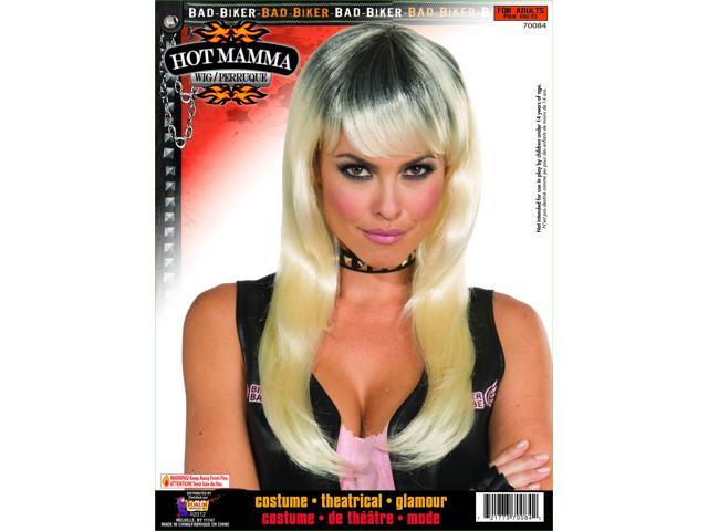 Biker Mama Black Blonde Costume Wig Adult One Size