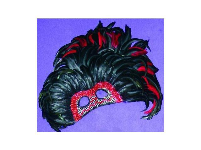 Jumbo Feather Venetian, Masquerade, Mardi Gras Mask Red & Black