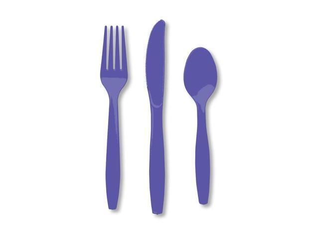 Premium Cutlery Assorted Plastic 24 Count Purple