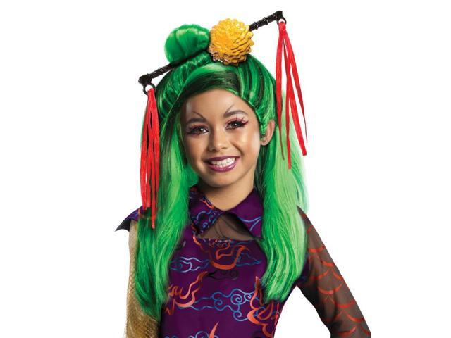 Monster High Jinafire Costume Wig Child: Green & Black