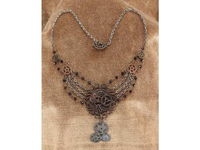 Steampunk Antique Multi Gear Chain Costume Necklace Mix Adult One Size