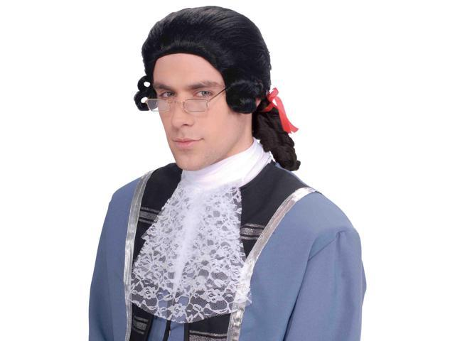 Men's Black Colonial Adult Costume Wig One Size