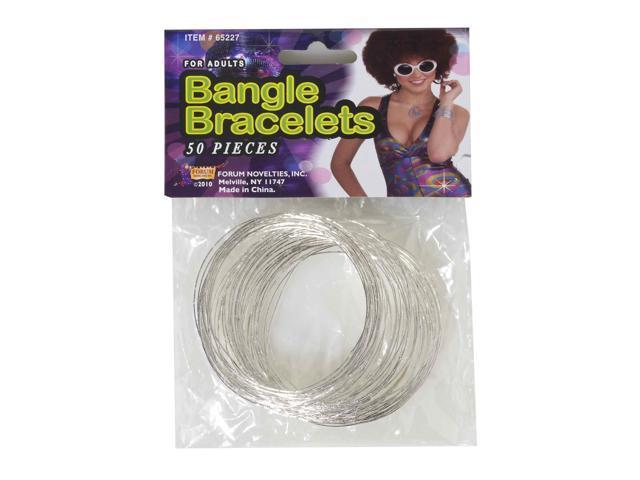 50 Piece Silver Bangle Bracelets Costume Jewelry One Size