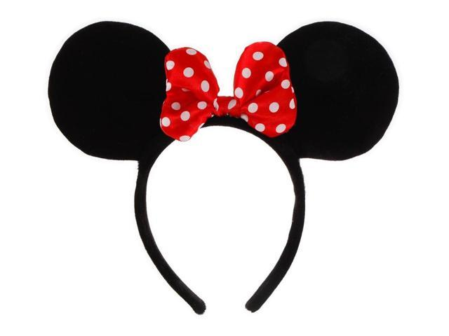 Disney Minnie Ears Red & White Polka Dot Bow Costume Headband One Size