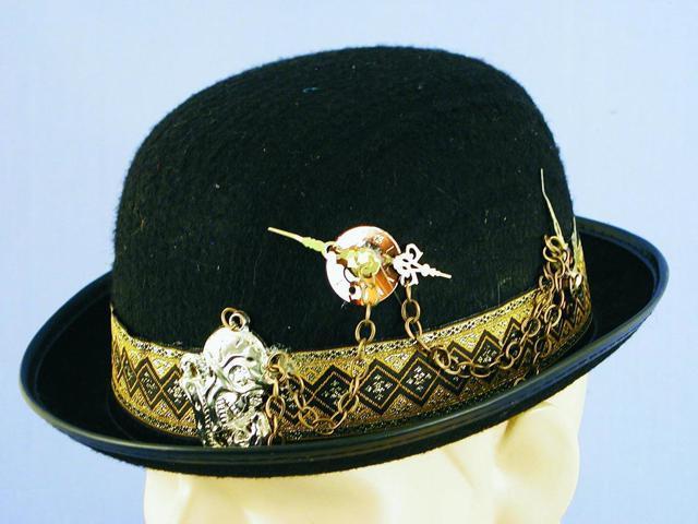 Steampunk Timepiece & Chain Black Costume Derby Hat One Size