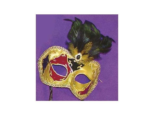 Mystique Eye Venetian, Masquerade, Mardi Gras Mask with Feathers Style E