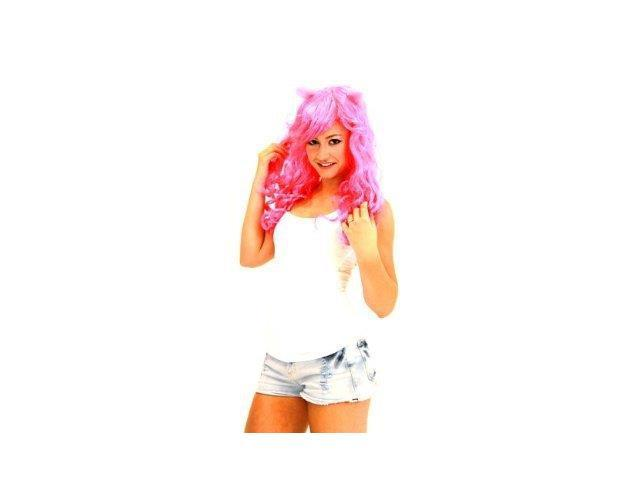 Deluxe Costume Wig With Ears Adult: Pink/Cupcake One Size Fits Most