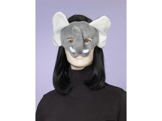 Deluxe Fuzzy Animal Mask Adult: Elephant One Size