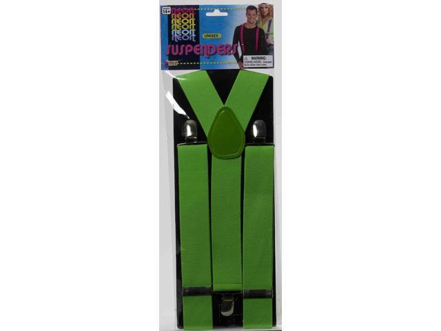 Neon Green Adult Costume Suspenders One Size
