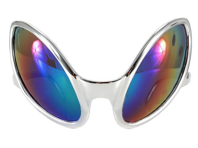 Close Encounter Alien Costume Mirrored Glasses Silver Adult One Size