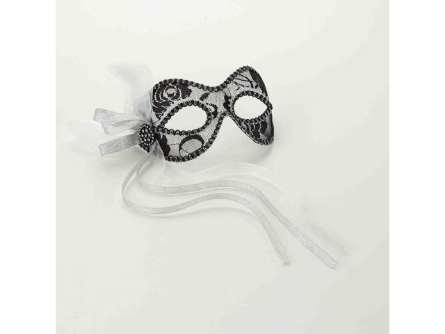 Venetian Black And Silver Lace Costume Mask One Size