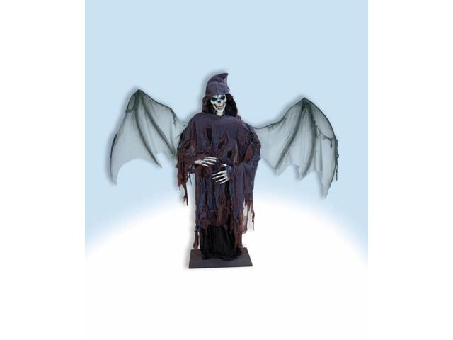 Deluxe 6' Standing Black Winged Lord Of Death Halloween Prop