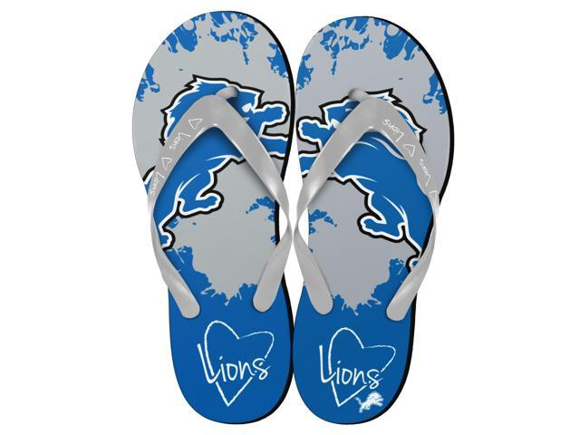 Detroit Lions NFL Womens Paint Splatter Flip Flops Small 5-6
