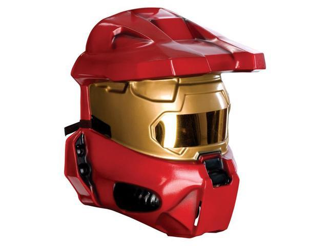 Halo Red Spartan Costume Half Mask Adult One Size
