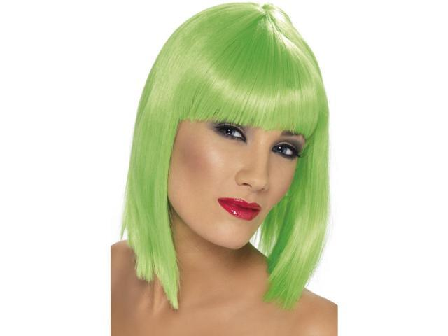 Glam Short Blunt With Fringe Neon Green Adult Costume Wig One Size
