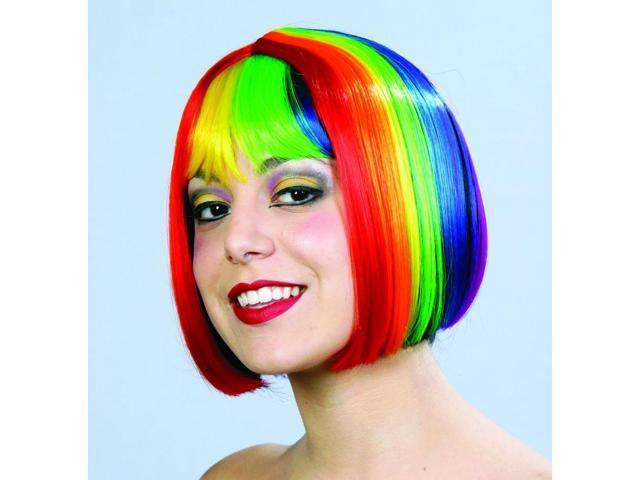 Rainbow Pride Multi Color Costume Bob Wig One Size