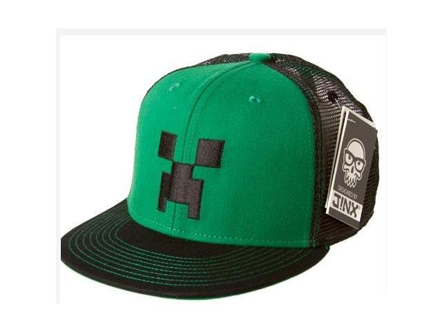Minecraft Creeper Face Premium Snap Back Hat Green/Black