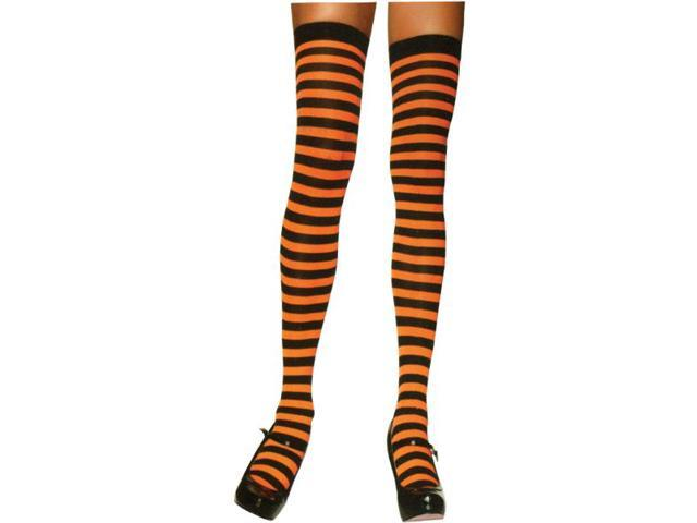 Black & Neon Orange Striped Costume Thigh High Stockings Adult One Size