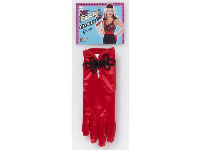 Retro Rock Red Satin Short Costume Gloves Adult One Size