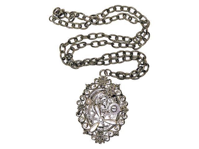 Steampunk Silver Gear Costume Necklace One Size