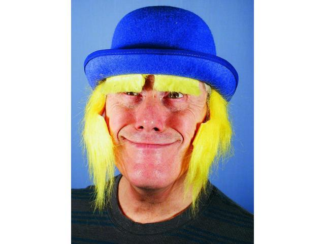 Blue Clown Costume Derby Hat With Yellow Sideburns One Size