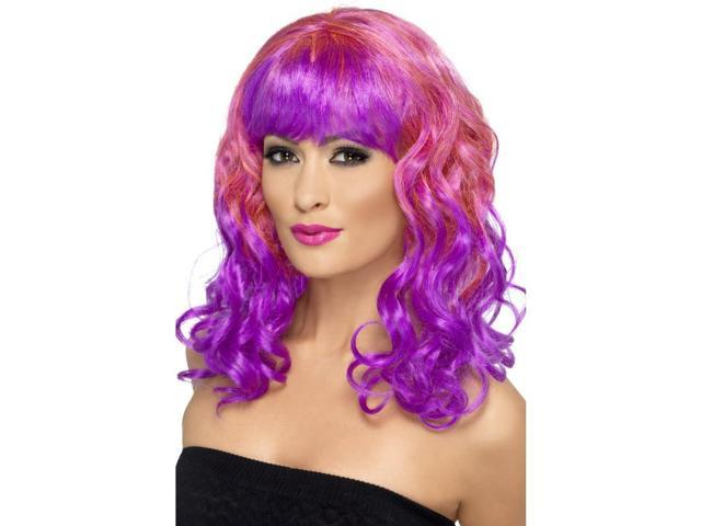 Divatastic Curly Costume Wig Adult: Pink & Purple One Size