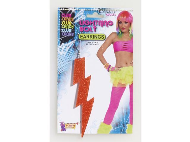 Club Candy Neon Lightning Bolt Costume Earrings: Orange One Size