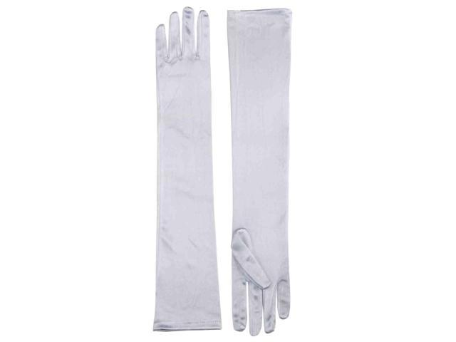 Long White Adult Female Costume Satin Dress Gloves One Size