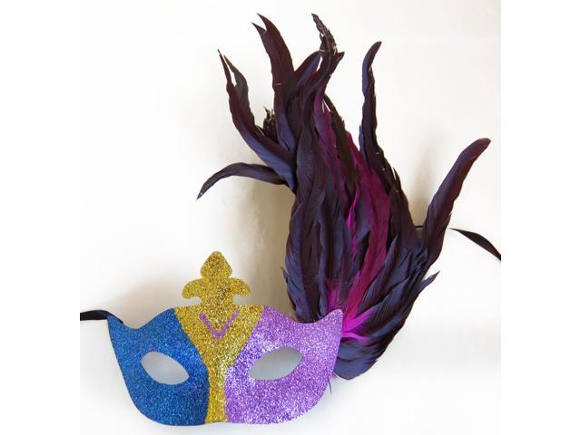Glitter Eye Venetian, Masquerade, Mardi Gras Mask W/Feathers Style F