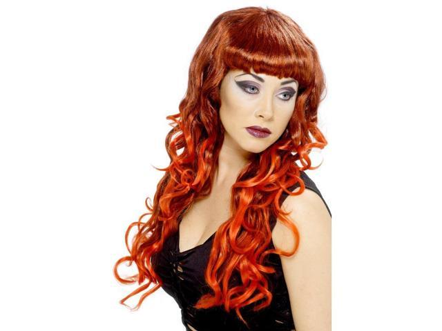 Long Curly Red & Black Siren Costume Wig One Size