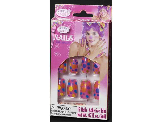 Circus Sweetie Polka Dot Costume Nails One Size