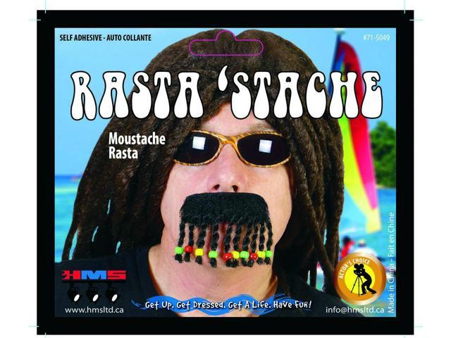 Rasta Stache Braided Beaded Costume Moustache One Size
