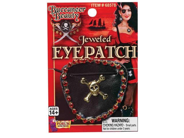 Pirate Wench Jeweled Skull & Crossbones Adult Costume Eyepatch One Size