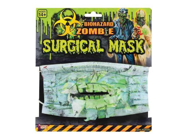 Biohazard Zombie Costume Surgical Mask With Teeth One Size