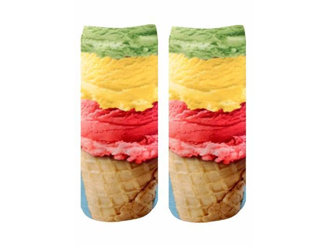 Ice Cream Photo Print Ankle Socks