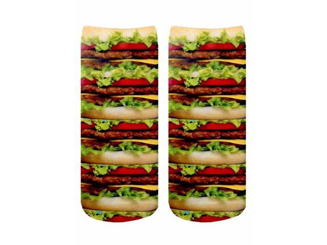 Stacked Hamburgers Photo Print Crew Socks