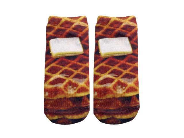Waffle Photo Print Ankle Socks