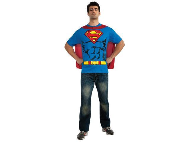 DC Superman T-Shirt & Cape Costume Kit Adult Large