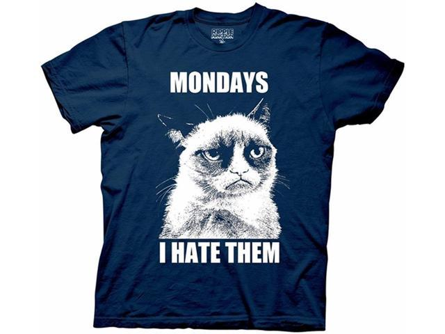 Grumpy Cat Mondays I Hate Them Adult T-Shirt X-Large