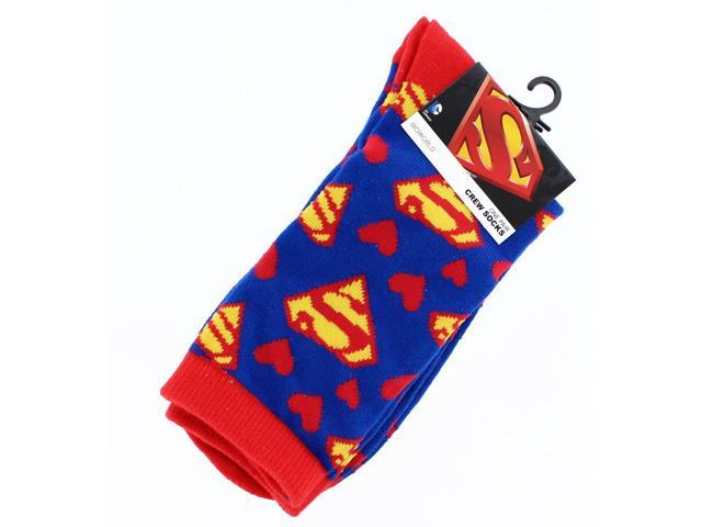 Superman Red & White Hearts Junior Crew Socks