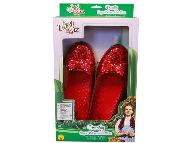 The Wizard Of Oz Deluxe Dorothy Costume Sequin Slippers Adult Small