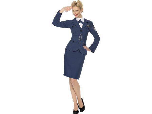 WW2 Female Air Force Captain Uniform Costume Adult: Blue Small